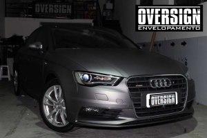 Audi A3 S-line, A3, S-line, Avery, Avery Dennison, Supreme wrapping film, Charcoal metallic, envelopamento de carros, cinza fosco, oversign, Vannucchi, Sid Signs, (19)